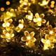 Solar Lichterkette 10M mit 100 Lotusblumen LEDs, Dunkelgrün Kabel, Warm Licht, für Außen