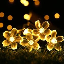 Solar Lichterkette 3M mit 20 Lotusblumen LEDs, Dunkelgrün Kabel, Warm Licht, für Außen