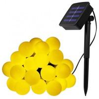 Solar Lichterkette 7M mit 60 Mattweiß LEDs Kugeln, Dunkelgrün Kabel, Warm Licht, für Außen