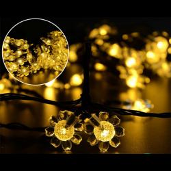 Solar Lichterkette 5M mit 50 LEDs Blumen, Dunkelgrün Kabel, Warm Licht, für Außen