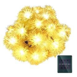Solar Lichterkette 3M mit 20 Löwenzahn LEDs, Dunkelgrün Kabel, Warm Licht, für Außen