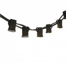 Rundkabel 10M mit 25 Fassung E12, Schwarzes Kabel, Verbindbar 500W, für Außen