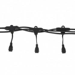 Rundkabel 10M mit 20 Pendel, Fassung E12, Schwarzes Kabel, Verbindbar 800W, für Außen