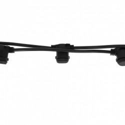 Rundkabel 5M mit 20 Fassung E14, Schwarzes Kabel, Verbindbar max. 600W, für Außen