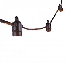 Rundkabel für Lichterkette 10M mit 20 Fassungen E14 max. 25W, Schwarzes Kabel, Verbindbar max. 2500W, für Außen