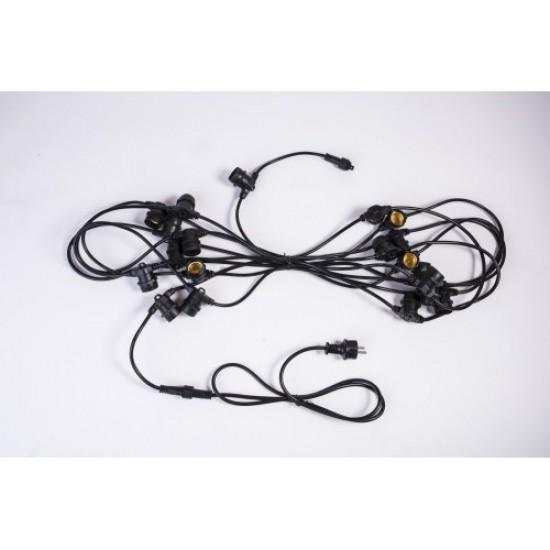Rundkabel 15M mit 24 Fassung E27, Schwarzes Kabel, Verbindbar max. 1000W, für Außen