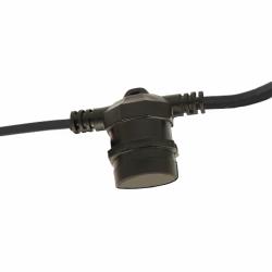 Flachkabel 10M mit 10 Fassung E27, Dunkelgrün Kabel, Verbindbar max. 1000W, für Außen