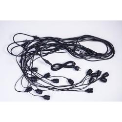 Rundkabel mit Pendel 15M mit 15 E27-Fassungen, Pendellänge 1M, Schwarzes Kabel, Verbindbar 1000W, für Außen