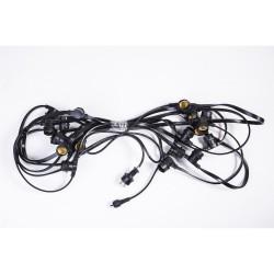Flachkabel 10M mit 20 Fassung E27, Dunkelgrün Kabel, Verbindbar max. 2000W, für Außen