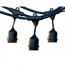 Rundkabel für Lichterkette mit Pendel 5M mit 10 Fassungen E27, Schwarzes Kabel, Verbindbar max. 1000W, für Außen