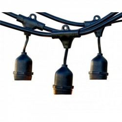 Rundkabel 15M mit 24 Pendel, Fassung E27, Schwarzes Kabel, Verbindbar max. 1000W, für Außen
