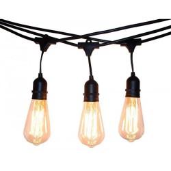 Lichterkette 15M mit 15 Pendel Glühbirnen E27, 25W, Glas, Dimmbar, Schwarzes Kabel, Warm Licht, Verbindbar 60M, für Außen