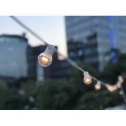 Lichterkette 5M mit 10 Speziellen Lampen-LEDs, Weißes Kabel, Warm Licht, Verbindbar 1000M, für Außen