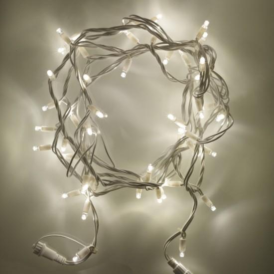 Lichterkette 10M mit 100 Kügelchen-LEDs, Weißes Kabel, Warm Licht, Verbindbar 200M, für Außen