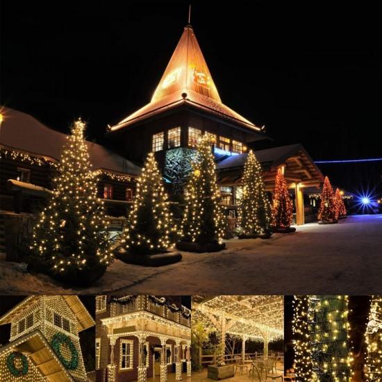 Lichterkette 10M mit 100 Kügelchen-LEDs, Schwarzes Kabel, Warm Licht, Verbindbar 200M, für Außen