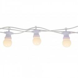 Lichterkette 5M mit 10 Klar Lampen-LEDs, Weißes Kabel, Warm Licht, Verbindbar 30M, für Außen