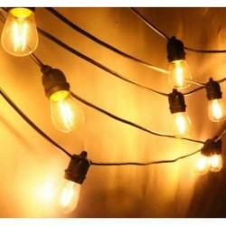 Lichterkette 10M mit 20 Birnen-LEDs, E27 4W, Schwarzes Flachkabel/Rundkabel, Warm Licht, Verbindbar 120M, für Außen