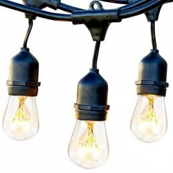 Lichterkette mit Pendel 15M mit 15 Filament Glühbirnen S14, E27 11W, Dimmbar, Schwarzes Kabel, Warm Licht, Verbindbar 60M, für Außen