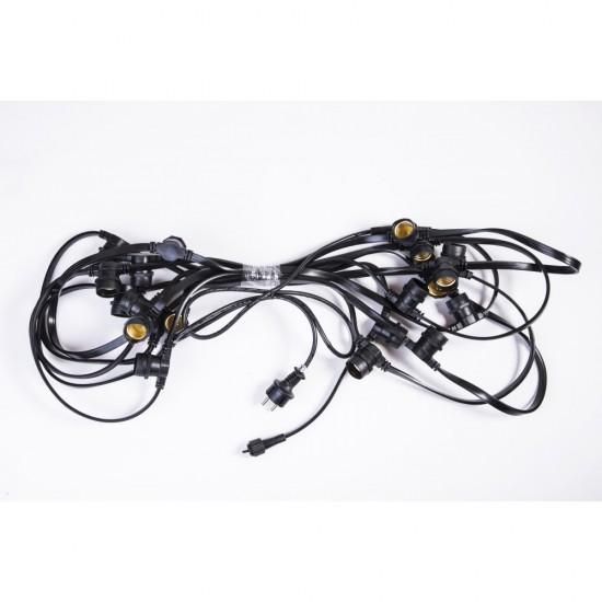 Lichterkette 10M mit 20 Glühbirnen E27, 11W, Schwarzes Kabel, Verbindbar 50M, für Außen