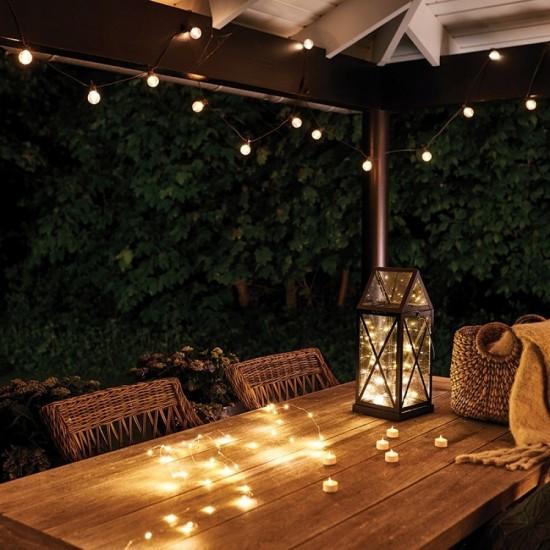Lichterkette 10M mit 20 Matt LED-Lampen, Schwarzes Kabel, Warm Licht, Verbindbar 30M, für Außen