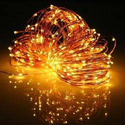 Kupferdraht Lichterkette 50M mit 500 Mini-LEDs, 8 Programmen mit Transformator und Fernbedienung, Warm Licht, für Außen