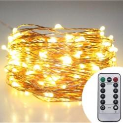 Kupferdraht Lichterkette 30M mit 300 Mini-LEDs, 8 Programmen mit Transformator und Fernbedienung, Warm Licht, für Außen