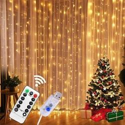 Lichtervorhang 2M × 2M, 200 Sternen und LEDs, mit 8 Programmen, Silberdraht, Warm Licht, USB und Fernbedienung