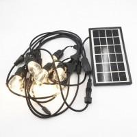 Solar Lichterkette 7,5M mit 10 Birnen LEDs, E27 2W, Schwarzes Kabel, Warm Licht, für Außen