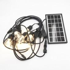Solar Lichterkette 8M mit 20 Glas Birnen-LEDs, E27 2W, Schwarzes Kabel, Warm Licht, für Außen