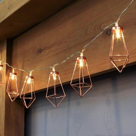 Dekorative Lichterkette 4M mit 20 Golden Diamant mit LED, Warm Licht, Batteriebetrieb