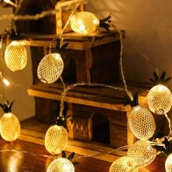 Dekorative Lichterkette 4M mit 20 Golden Förmchen Ananas mit LEDs, Warm Licht, Batteriebetrieben