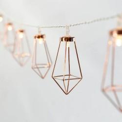 Dekorative Lichterkette 4M mit 20 Kupfer Diamant mit LED, Warm Licht, Batteriebetrieben