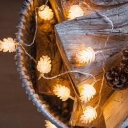 Dekorative Lichterkette 3,3M mit 20 Tannenzapfen mit LEDs, Warm Licht, Batteriebetrieben