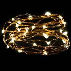Kupferdraht Lichterkette 5M mit 50 Mini-LEDs, mit 10 abnehmbaren Haken, Warm Licht, Batteriebetrieb