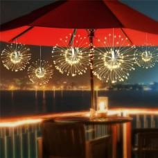 Solarlampe Lichterkette Hängend Feuerwerk mit 120 Mini-LEDs, Kupferdraht, Wasserdicht, Warm Licht, für Außen