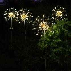 Solarlampe Feuerwerk mit 120 Mini-LEDs und Metall Unterstützung, Kupferdraht, Wasserdicht, Warm Licht, für Außen
