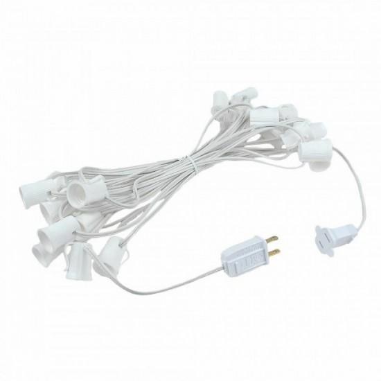Zickzack Lichterkette 7,5M mit 25 LED-Lampen E12, 1W, Glas, Dimmbar, Weißes Kabel, Verbindbar 210M, für Außen