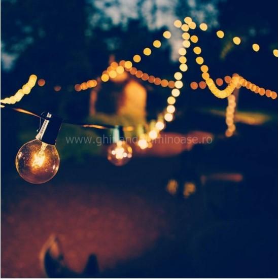 Zickzack Lichterkette 10M mit 25 + 2 Geschenke Glühlampen Filament E12, 10W, Verbindbar 20M, für Außen