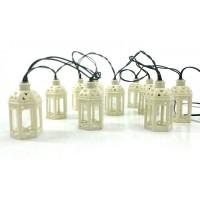 Solarlichterkette 2M mit 10 Weiße Hängende Laternen mit LED Kerzen, Dunkelgrün Kabel, Warm Licht, für Außen