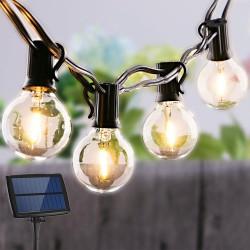 Solarlichterkette 4M mit USB und 12 Lampen-LEDs, E12, Schwarzes Kabel, Warm Licht, für Außen
