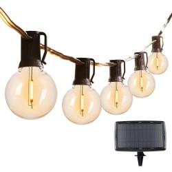 Solarlichterkette 6M mit USB und 25 Lampen-LEDs, E12, Schwarzes Kabel, Warm Licht, für Außen