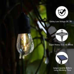 Solar Lichterkette 7,6M mit 10 + 2 Birnen LEDs Geschenk, E27 2W, Schwarzes Kabel, Warm Licht, für Außen