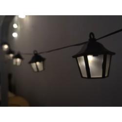 Solar Lichterkette 2M mit 10 Laternen-LED, Dunkelgrün Kabel, Warm Licht, für Außen