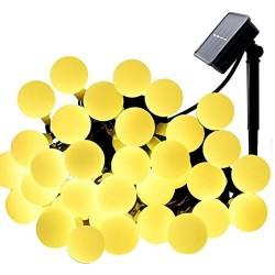 Solar Lichterkette 10M mit 100 Kugel LEDs, Dunkelgrün Kabel, Warm Licht, für Außen