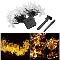Solar Lichterkette 3M mit 20 Schmetterlinge mit LEDs, Dunkelgrün Kabel, Warm Licht, für Außen