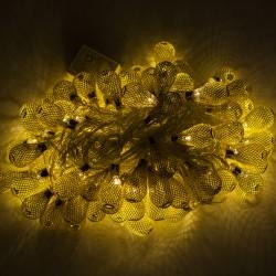 Dekorative Lichterkette 10M mit 100 Golden Mini-Kugel, Durchsichtig Kabel, Warm Licht, Verbindbar 50M