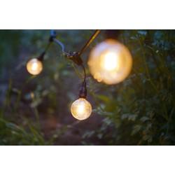 Lichterkette mit Pendel 10M mit 20 Lampen-LEDs E12, Schwarzes Kabel, Warm Licht, Verbindbar 400M, für Außen