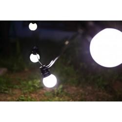 Lichterkette 10M mit 20 Mattweiß Lampen-LEDs, E27 2.4W, Schwarzes Flachkabel/Rundkabel, Neutral-Warm Licht, Verbindbar 200M, für Außen