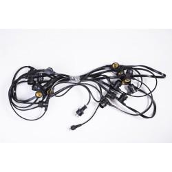 Flachkabel 10M mit 20 Fassung E27, Schwarzes Kabel, Verbindbar max. 1200W, für Außen