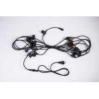 Rundkabel für Lichterkette 10M mit 20 Fassung E27, Schwarzes Kabel, Verbindbar max. 1000W, für Außen